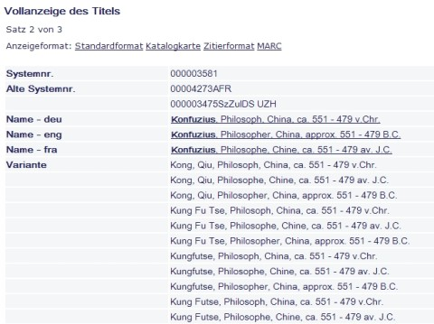 Abbildung 1: Auszug aus dem Normdateneintrag zum Autor Konfuzius, aktuell sind 32 Namensvarianten erfasst