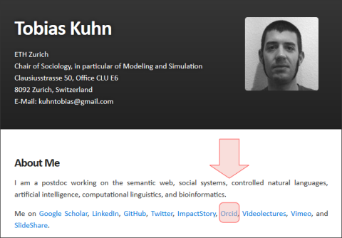 Abbildung 3: Webseite eines Forschers an der ETH Zürich