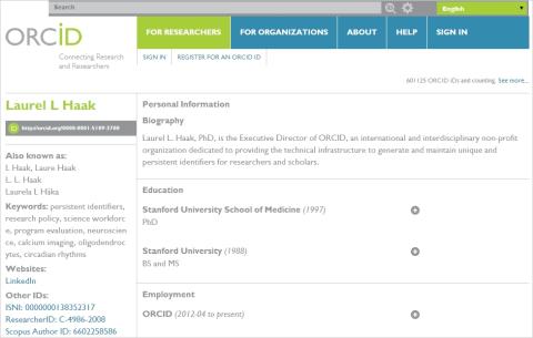 Abbildung 2: Beispiel eines ORCID Profils